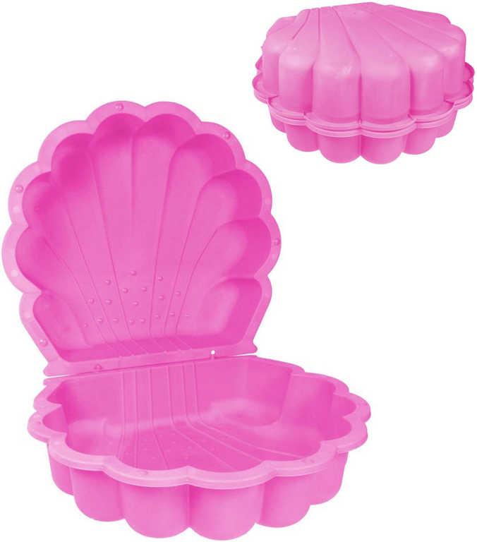 Pískoviště baby bazének mušle 87x78cm s víkem 2v1 růžové plast