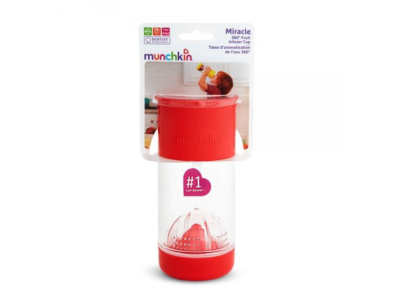 Munchkin - Netekoucí hrnek s infuzérem 414 ml - červený