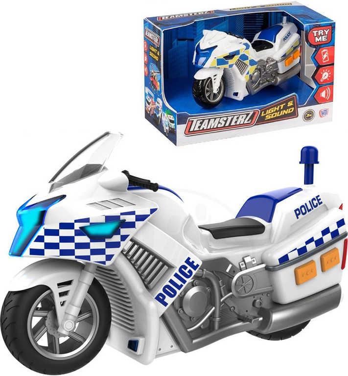 Teamsterz motorka 15 cm policejní motocykl na baterie Světlo Zvuk 2 druhy