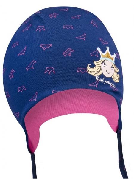 Bavlněná čepička YO ! Little princess - granátová - se zavazováním - 38/40 čepičky obvod