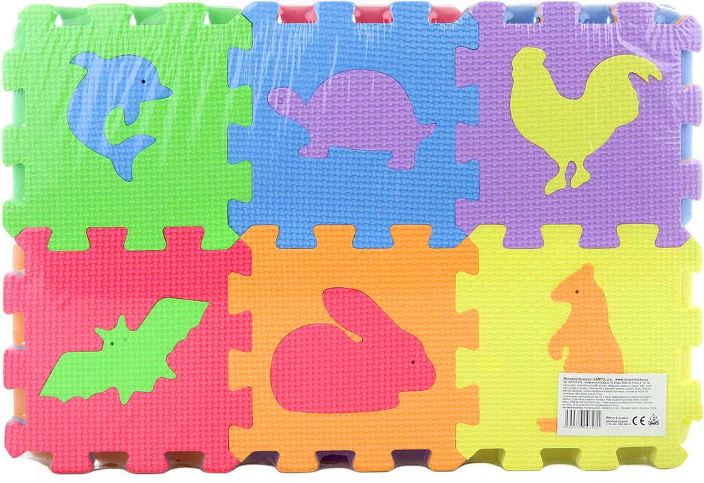 Puzzle soft pěnové zvířátka 36ks měkké bloky 16x16cm na zem