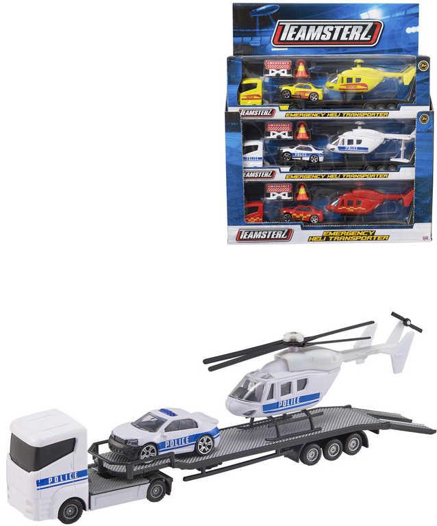Teamsterz tahač set s autem a helikoptérou a doplňky různé druhy
