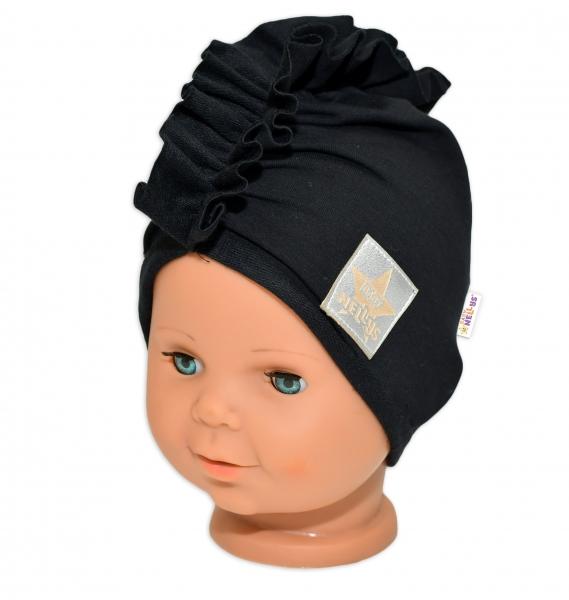 Baby Nellys Jarní/podzimní bavlněná čepice - turban, černá