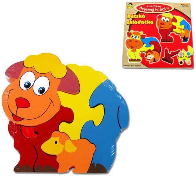 DŘEVO Skládací zvířátka puzzle skládačka 4 druhy *DŘEVĚNÉ HRAČKY*