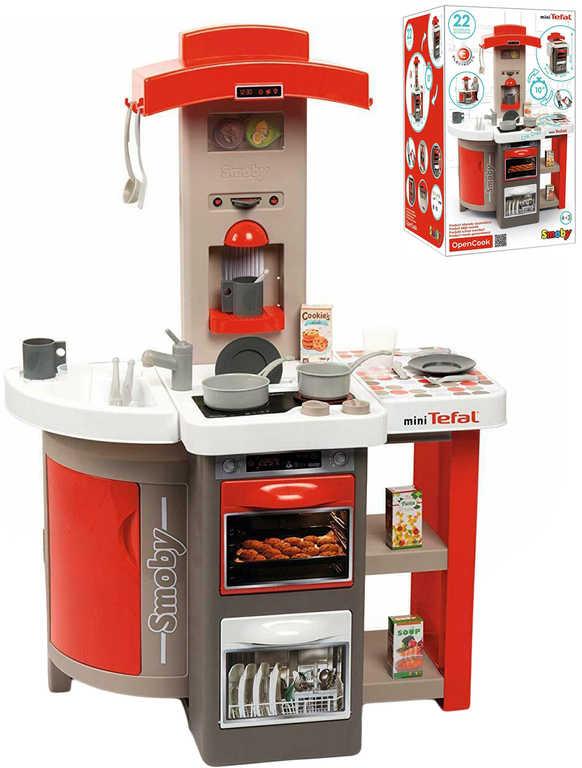SMOBY Kuchyňka dětská TEFAL skládací červená s doplňky na baterie Zvuk
