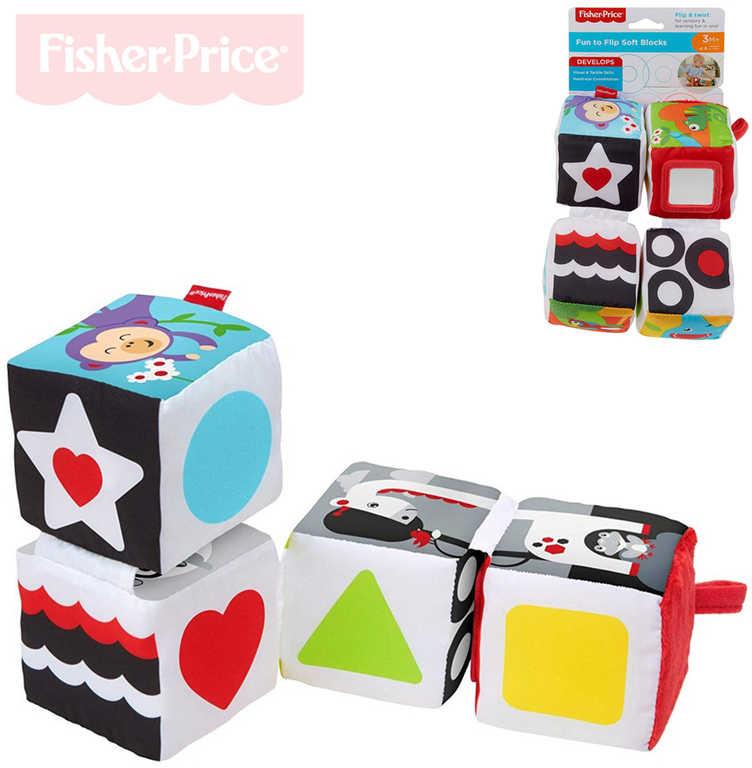 FISHER PRICE Baby soft kostky textilní naučné 4ks s texturami měkké pro miminko