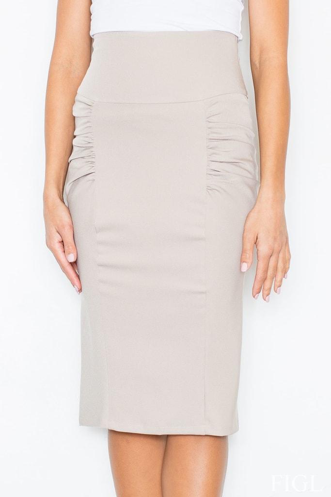 Dámská sukně s vysokým pasem FIGL M044 béžová - L