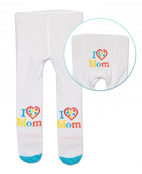 Bavlněné punčocháče Baby Nellys ® - I love Mom - bílé, vel. 80/86 - 80/86