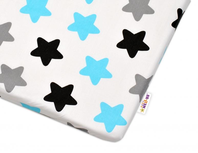 Bavlněné prostěradlo - Barevné hvězdičky - modré - 120x60