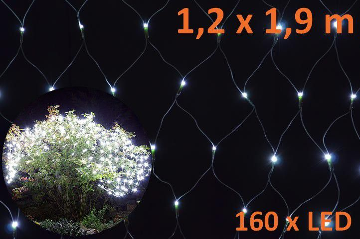 Vánoční osvětlení - LED světelná síť 1,2 x 1,9 m - studená bílá, 160 diod