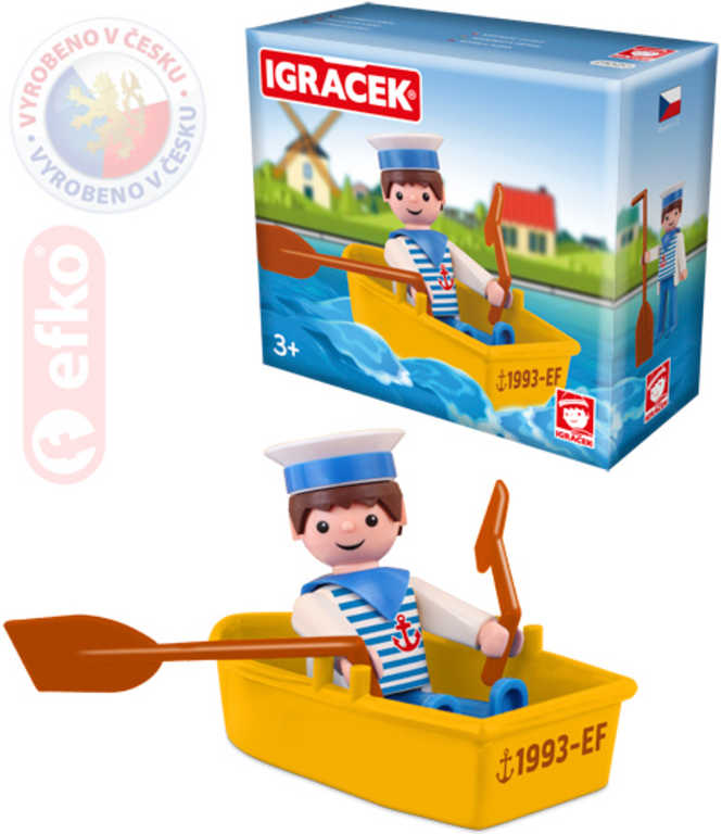EFKO IGRÁČEK Námořník s lodičkou figurka 7,5 cm v krabičce