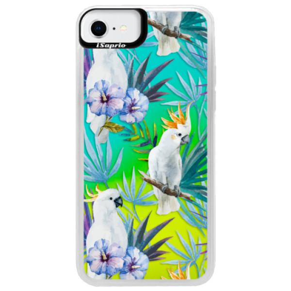 Neonové pouzdro Blue iSaprio - Parrot Pattern 01 - iPhone SE 2020