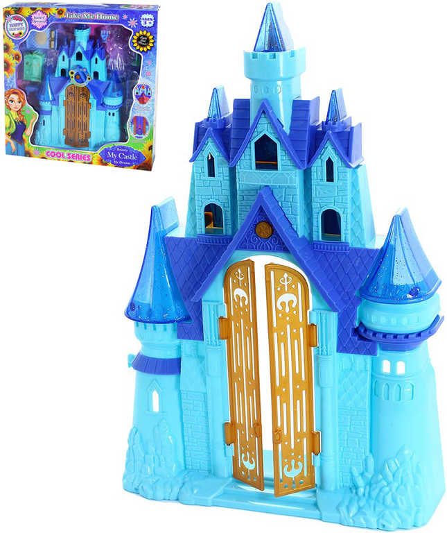 Hrad zimní království s nábytkem modrý na baterie