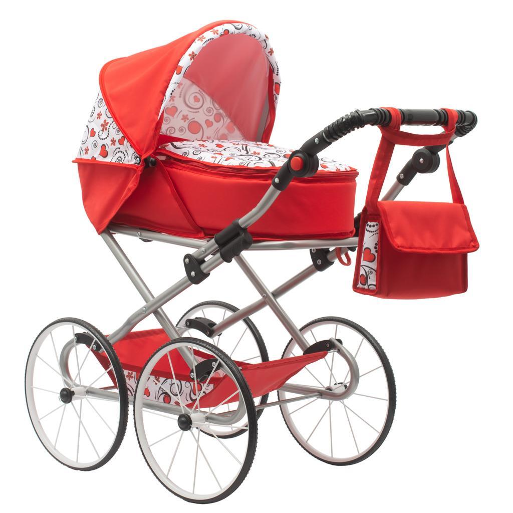 Dětský Retro kočárek pro panenky 2v1 New Baby - Anička červený se srdíčky - červená