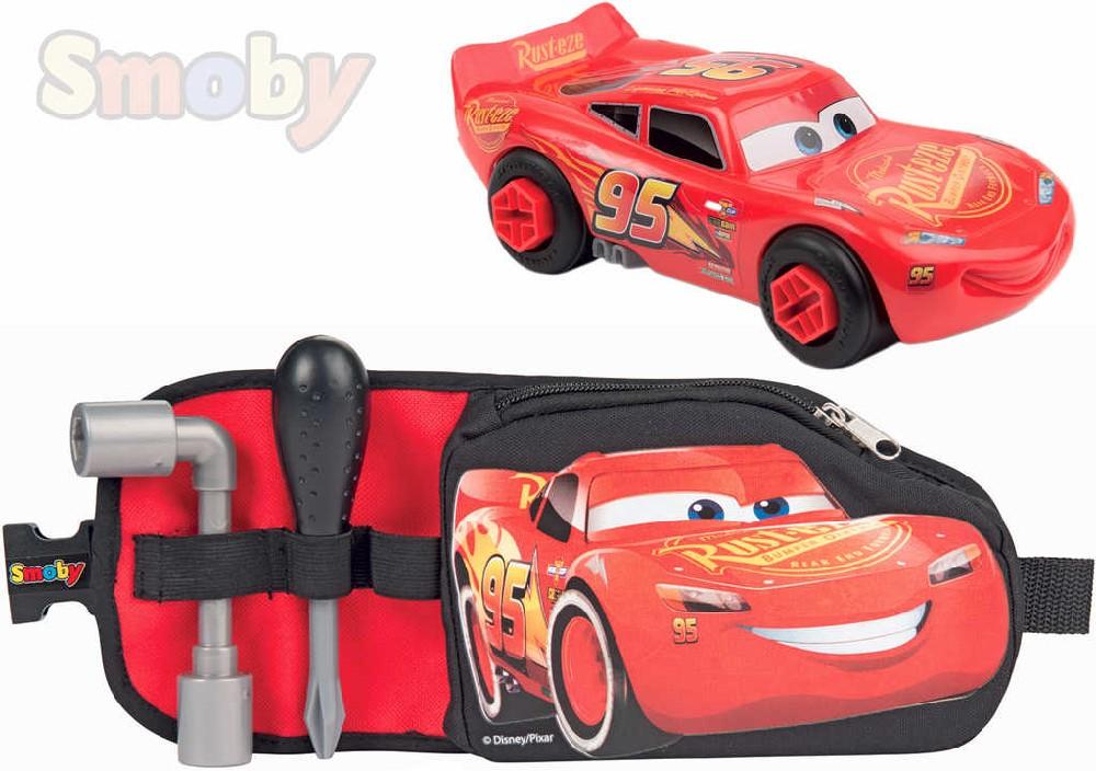 SMOBY Herní set Cars 3 (Auta) Nářadí na opasku s autíčkem k sestavení v kaspe na zip
