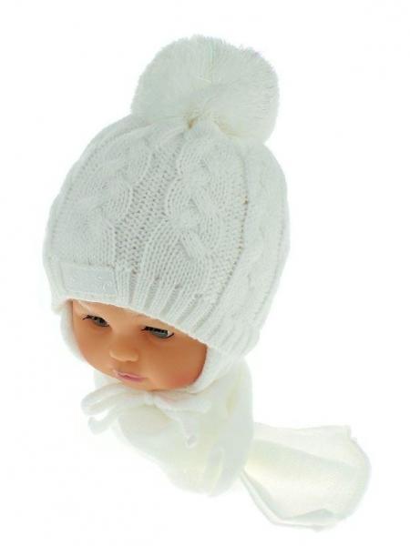 Zimní pletená čepička s šálou Baby Bear - bílá s bambulkou - 34/36 čepičky obvod