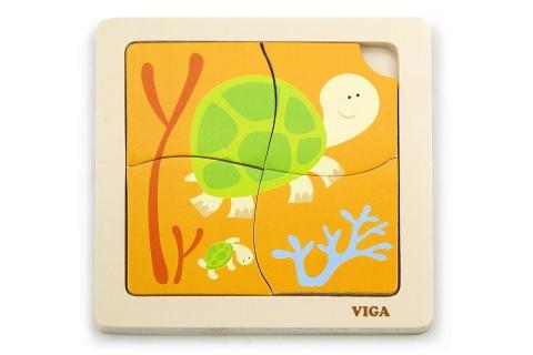 Dřevěné puzzle 4 dílky - želva