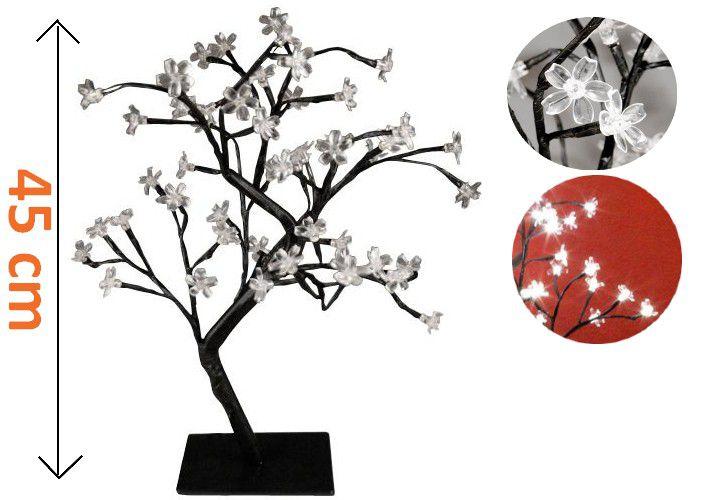 Dekorativní LED strom s květy - 45 cm, studená bílá