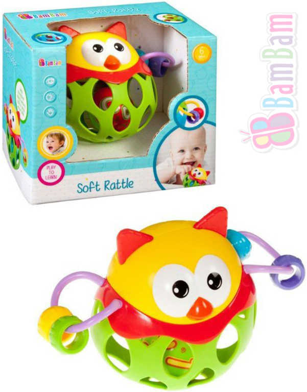 ET BAM BAM Baby Chrastítko Sova měkké pro miminko plast v krabici