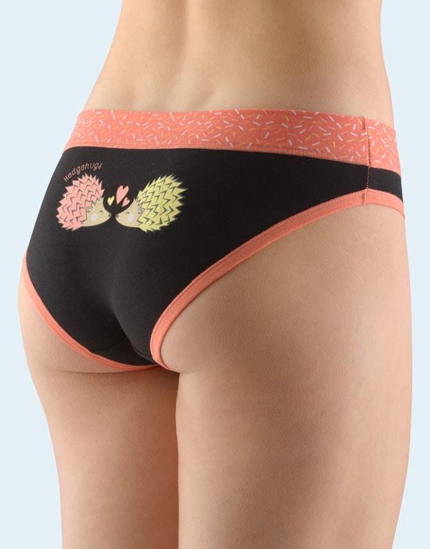 GINA dámské kalhotky bokové se širokým bokem, širší bok, šité, s potiskem Funny 3 collection 16116P - jaspis černá - 46/48