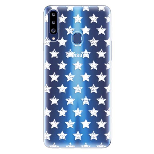 Odolné silikonové pouzdro iSaprio - Stars Pattern - white - Samsung Galaxy A20s