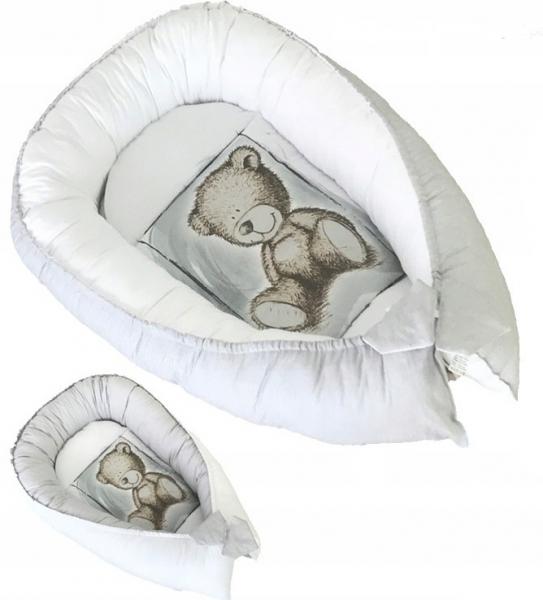Baby Nellys Oboustranné hnízdečko, kokon Teddy 80x45x15cm - šedé