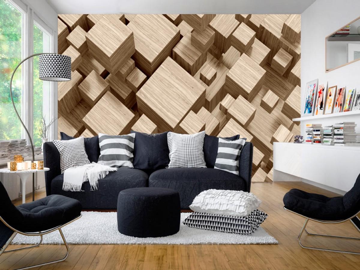3D tapeta - Dřevěné krychle