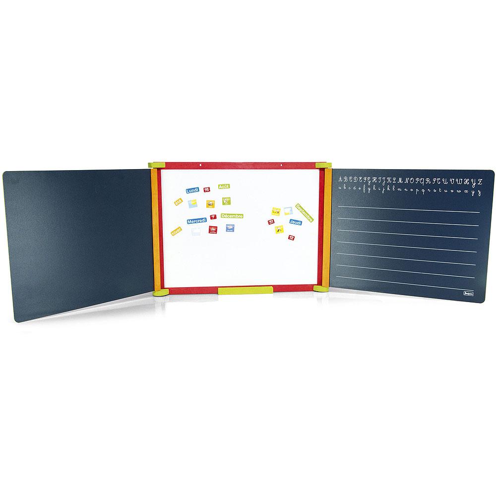 Jeujura Dřevěná trojkřídlá multifunkční tabule 156x43 cm s příslušenstvím, barevná