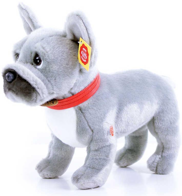 PLYŠ Francouzský buldoček 30cm šedý pes na baterie Zvuk *PLYŠOVÉ HRAČKY*