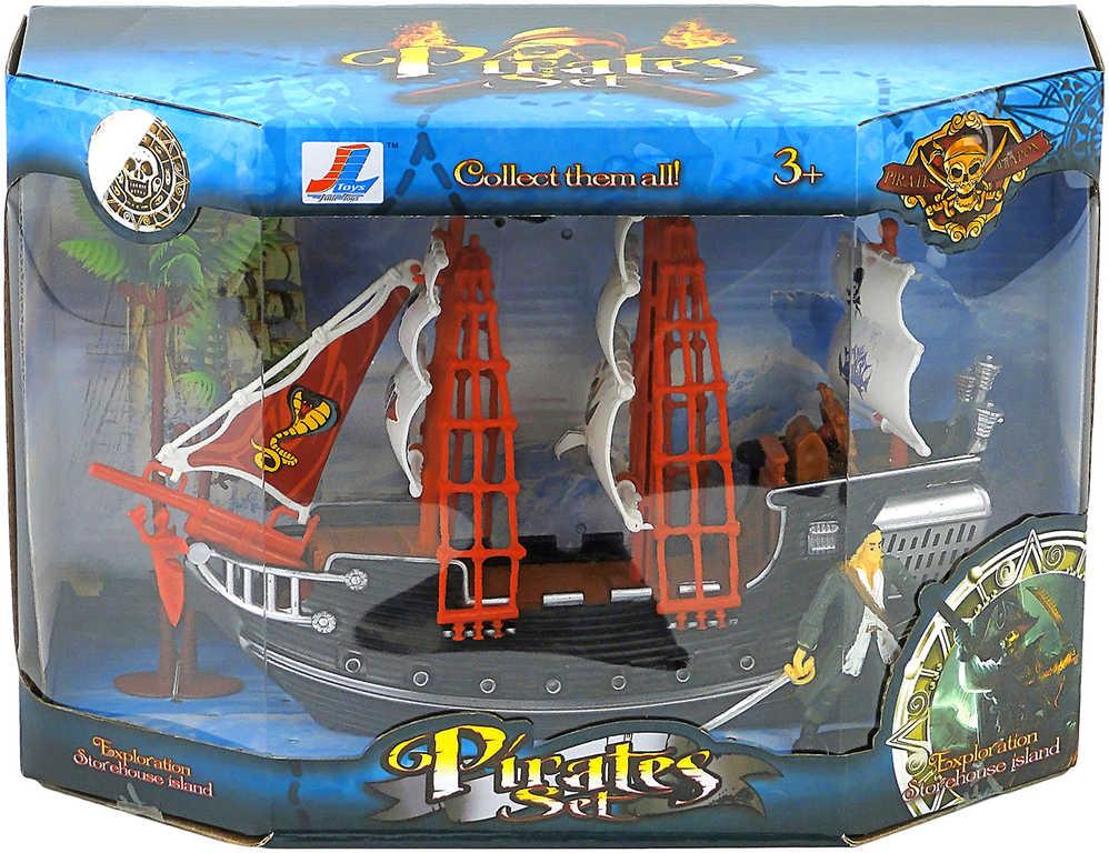 Loď pirátská plastová 26cm set s figurkou a palmami v krabici různé druhy