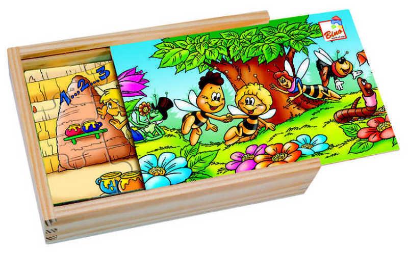 BINO DŘEVO Puzzle 4 v krabičce Včelka Mája * DŘEVĚNÉ HRAČKY *
