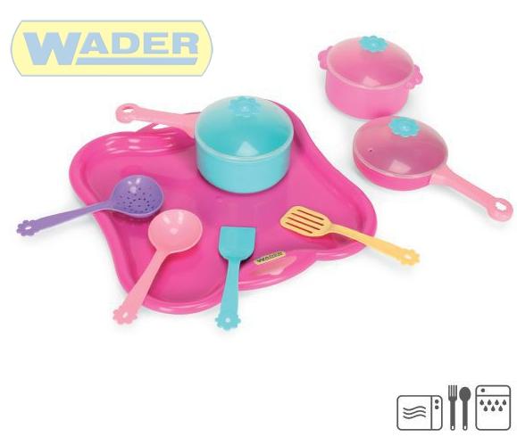 WADER Dětská sada nádobí set kuchyňský párty tác s doplňky 11ks 22060 PLAST