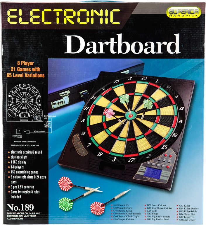 Hra terč elektronický 42cm 21 her + 6 šipek na baterie / adaptér plast Zvuk