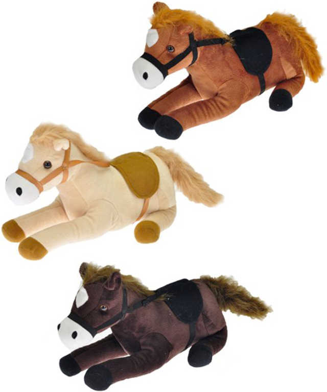 PLYŠ Kůň ležící 25cm osedlaný na baterie Zvuk 3 barvy PLYŠOVÉ HRAČKY