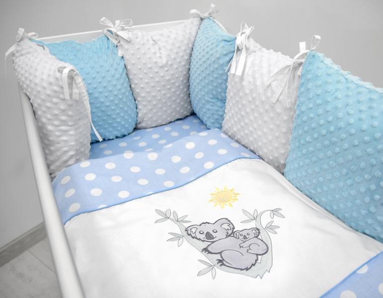 polstarkovy-mantinel-s-minky-s-povlecenim-s-vysivkou-modra-bila-tecky-koala-135x100