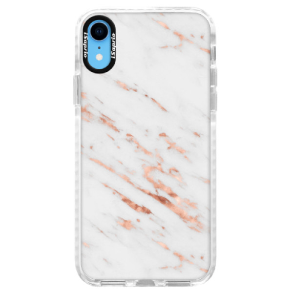 Silikonové pouzdro Bumper iSaprio - Rose Gold Marble - iPhone XR