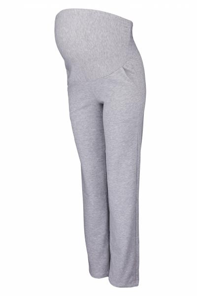 Těhotenské kalhoty s elastickým pásem a kapsami - šedý
