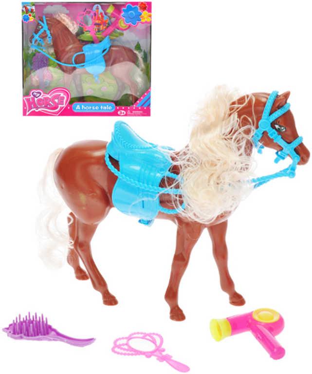 Kůň hnědý plastový 24cm česací set se sedlem a doplňky v krabičce