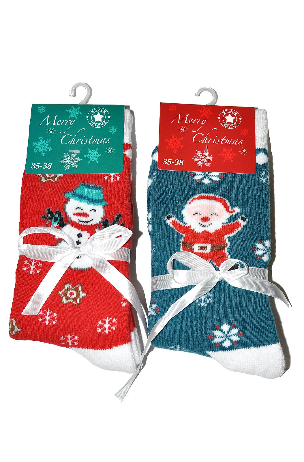 Dámské ponožky WiK Merry Christmas art.5002 - Červená/39-42
