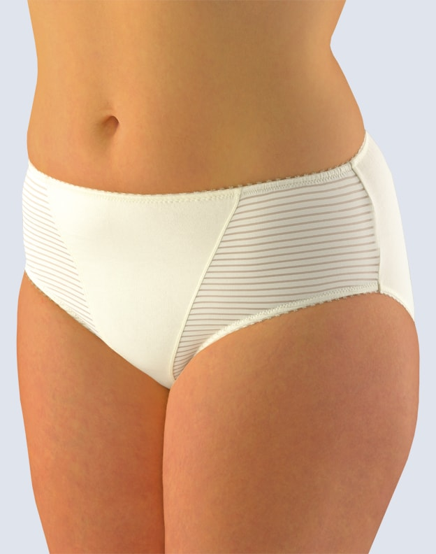 GINA dámské kalhotky klasické ve větších velikostech, větší velikosti, šité, jednobarevné 11054P - žlutobílá