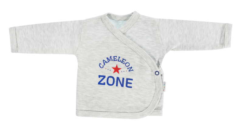 Mamatti Novorozenecká košilka Chameleon - zapínání bokem, šedá, vel. 62 - 62 (2-3m)