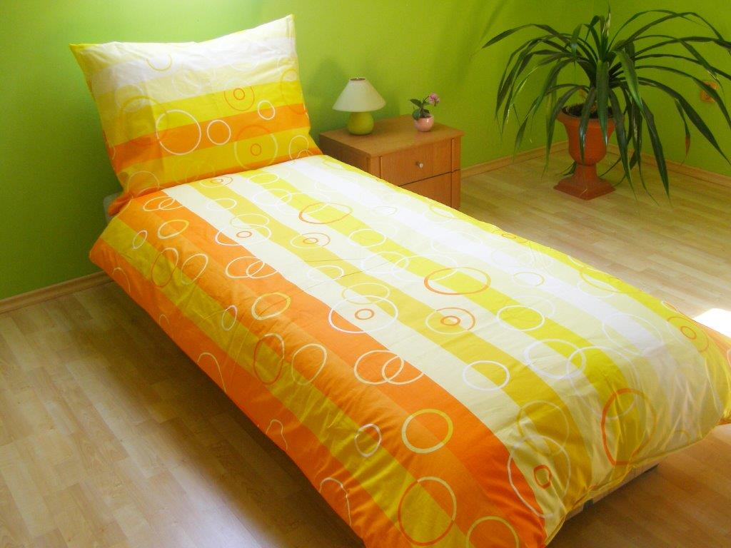 Povlečení francouzské bavlna 220x220,70x90 Bublina oranžová, Výběr zapínání: