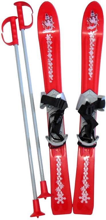 PLASTKON Lyže dětské Baby Ski 70cm carvingové Červené s vázáním plast