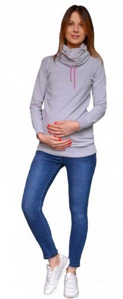Smile Těhotenské kalhoty JEANS s pružným pásem Marika - Modré, vel. XL - XL (42)