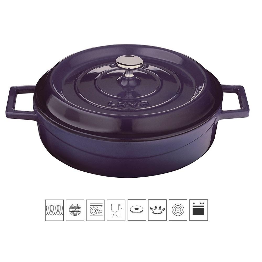 Litinový hrnec nízký kulatý 28cm - světle fialový