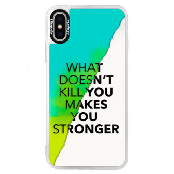 Neonové pouzdro Blue iSaprio - Makes You Stronger - iPhone XS