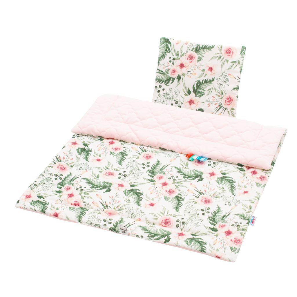 Oboustranný Set z Velvet do kočárku New Baby květiny - růžová