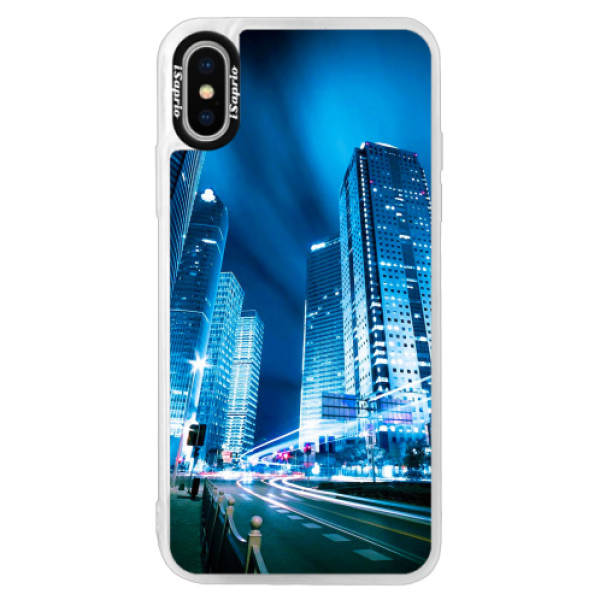 Neonové pouzdro Pink iSaprio - Night City Blue - iPhone XS