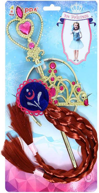KARNEVAL Zlatý set příčesek tmavý s korunkou a hůlkou zimní princezna Anička