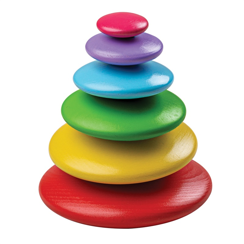 Bigjigs Baby Balanční hra usazování barevných oblázků